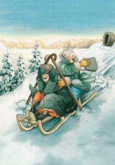 Inge Look Postcard 05 nuala art Illustrations, Illustration Art, Old Lady Humor, Nordic Art, Postcard Art, Whimsical Art, Christmas Art, Old Women, Fantasy Art