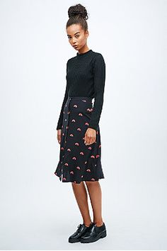 Lulu & Co Rainbow Print Midi Skirt in Black