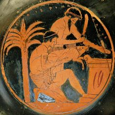 Sacrifice of a young boar in ancient Greece (tondo from an Attic red-figure cup, BC, by the Epidromos Painter, collections of the Louvre) Ancient Greek Art, Ancient Greece, Ancient History, Ritual Sacrifice, Religious Rituals, Greek Pottery, Minoan, Louvre, Archaeology