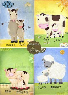Horse, Cow, Pig, Sheep, Farm Art Print Set. $40.00, via Etsy.