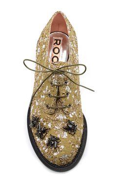 Embellished Metallic-Jacquard Brogues by Rochas