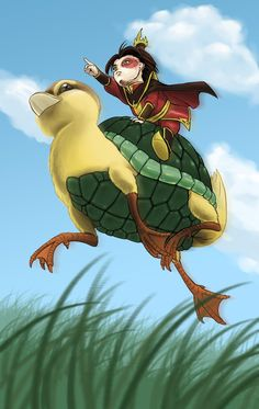 Chibi Firelord Zuko on a giant flying turtleduck in chase of his honor. I don't know why it exists, but it makes me happy.