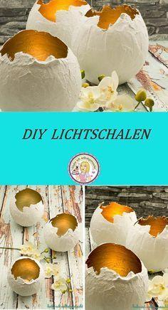 DIY Lichtschalen; Kerzenschale, Gips, basteln, Deko, gold