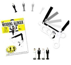 The Wedding Slinger by Accoutrements. $7.23. Illustrated blistercard. Order yours today!. Stick 'em up! What a novel(ty) idea! Makes a great, wacky gift!. Great for bachelorette parties or the big day. Four different figures included.. With the Wedding Slinger, you can send tiny plastic newlyweds sailing through the air above the real happy couple on their way out of the church. Just load the 1 5/8-inches tall plastic brides and grooms into the 5 3/4-inches long pla...