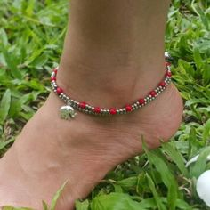 Hand Made Fair Trade Anklet Double Strand Silver Red Beads Elephant