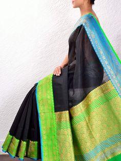 Black linen silk Saree with kadiyal border
