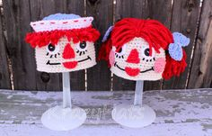 Crochet Raggedy Ann and Andy Beanie by KrazyHats1 on Etsy, $30.00