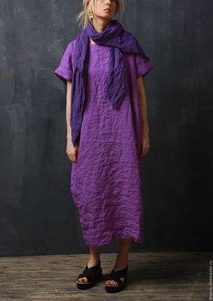 Платья ручной работы. Ярмарка Мастеров - ручная работа. Купить Льняное платье. Handmade. Фиолетовый, летний, льняное платье