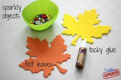 Toddler Approved!: Mom and Tot Craft Time: Sparkly Fall Leaves
