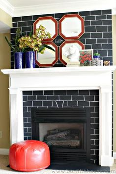 Now this is a creative use for chalkboard paint! Freshen up your fireplace surround with a hand-drawn brick pattern on black chalkboard paint.