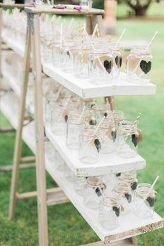 Cute mason jar wedding reception drink idea; photo: Koman Photography