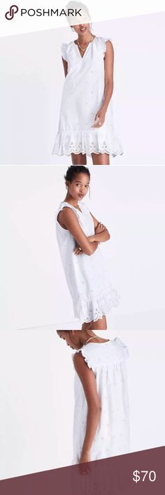 "Madewell White Eyelet Garden Ruffle Dress Madewell white eyelet dress  Size Small and large available    PRODUCT DETAILS  An easy ruffled dress in breezy embroidered eyelet inspired by the lace on a '20s nightgown. Just add sandals and chilled lemonade.  Nonwaisted.  Falls 35 1/8"" from highest point of bodice.  Cotton.  Lined.  Machine wash or dry clean if preferred.  Import. Madewell Dresses"