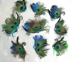 Weddings, Peacock Feather Fascinator, Bridal Hair Accessory, Bridesmaid, Set of 9. Any color, Custom, Victorian, Batcakes Couture. $350.00, via Etsy.