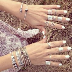 Silver jewelry. Love the crystal bracelet! | @andwhatelse