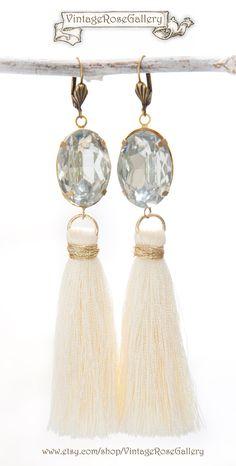 Wedding Silk Tassel Earrings, Bridal Boho Silk Tassel Earrings, Ivory Bridal Earrings, Boho Chic, Tassel Earrings by VintageRoseGallery Etsy Jewelry, Boho Jewelry, Bridal Jewelry, Jewelry Gifts, Jewellery, Bridal Earrings, Tassel Earrings, Vintage Roses, Etsy Vintage