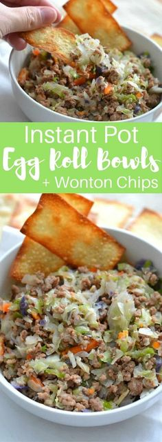 Instant Pot Egg Roll Bowls (+ Wonton Chips) Craving Chinese food, but trying to stick to your low-carb resolution? Instant Pot Egg Roll Bowls are the perfect solution for an easy weekday meal to satisfy that craving without all the guilt! Crock Pot Recipes, Slow Cooker Recipes, Casserole Recipes, Egg Roll Casserole Recipe, Healthy Pressure Cooker Recipes, Pressure Cooker Meals, Venison Recipes, Crockpot Meals, Wonton Chips