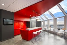 love the bar setup, and love the dramatic red although probably not for the kitchen in our office