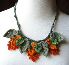 Crochet Fall Autumn Leaves Necklace in Cashmere by Meekssandygirl