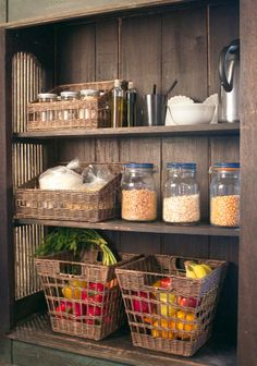 Wicker Pantry Baskets and Wicker Tapered-Front Pantry Baskets from www.basketlady.com to organize your kitchen pantry in style!