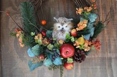 Items similar to Owl Wreath, Fall Wreath, Fruit Wreath with Pine Cone and Pine Greenery, Owl Door Wreath, Winter Wreath on Etsy Silk Flower Wreaths, Owl Wreaths, Silk Flowers, Floral Wreath, Grapevine Wreath, Wreath Fall, Door Wreath, Owl Door, Fall Owl