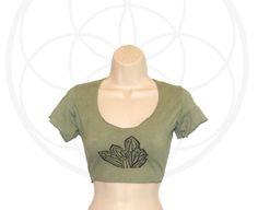 Organic Cotton and Hemp Crop  top  Crystal Cluster Print