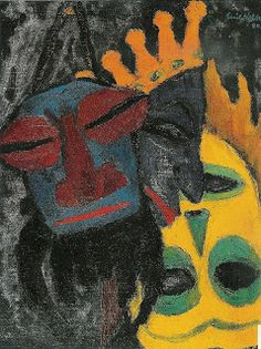 Emil Nolde, Masks. 1922. This painting was banned by the Nazi regime and exhibited at the Degenerate art exhibition in Munich in 1937.