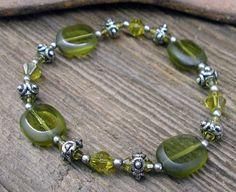 Beaded Glass Bracelet  J33 by RusticSpoonful on Etsy, $10.00 #beaded #bracelet #green #gunmetal #findings