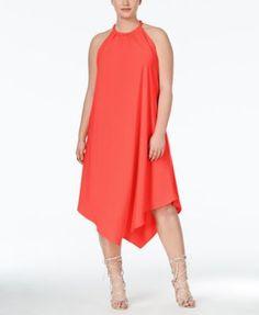 Rachel Rachel Roy Plus Size Handkerchief-Hem Halter Shift Dress Curvy Plus Size, Trendy Plus Size, Plus Size Women, Plus Zise, Mode Plus, Plus Size Dresses, Plus Size Outfits, Handkerchief Dress, Plus Size Kleidung