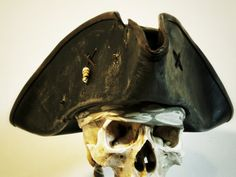 Aged looking Black Leather Pirate Tricorn Hat by Pirateswife
