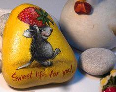 Stone Painting, Rock Painting, Sweet Life, Rock Art, Painted Rocks, I Shop, Handmade Gifts, Etsy, Vintage