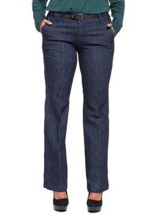 Jeans gamba larga in misto cotone stretch lavaggio scuro con cintura glitter nera (rimovibile) da infilare nei passanti, tasche davanti all'americana con applicate piccole borchie sfaccettate (ovali, tonde e quadrate), bottone con logo, piega stirata, etichetta in metallo dietro. Vita regolare, gamba larga.