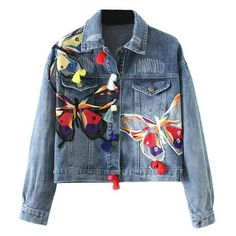 Blue Denim Jacket with Butterfly & Floral Embroidery