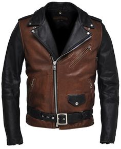 Black and brown leather jacket  http://www.perfectobrand.com/products/ricky.htm