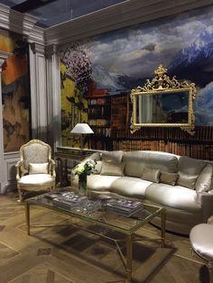 Stand Medea, Salone del Mobile Milano, April 14/19 2015. Sofa produced with fabric Satin Cuir, Taroni.