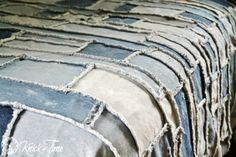 Repurposed Jeans Denim Quilt - yes, this is a quilt! Wait till you see it in this teen's bedroom... super cool! By Knick of Time Interiors