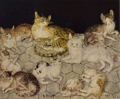 Leonard Tsuguharu Foujita was a painter, print-maker and a well-known lover of cats. Asian Cat, Son Chat, Japanese Cat, Kinds Of Cats, A Level Art, Japan Art, Japanese Artists, Figure Painting, Artist At Work