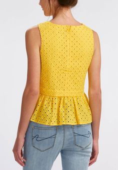 Cato Fashions | Eyelet Pelum Top-Plus Lace Top Outfits, Cool Outfits, Casual Outfits, Suit Fashion, Fashion Outfits, Womens Fashion, Blouse Styles, Blouse Designs, Flare Top