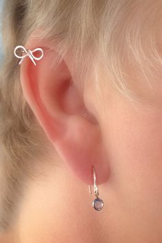 Cartilage Piercing Dainty Bow Pierced Stud. Ugh want!!