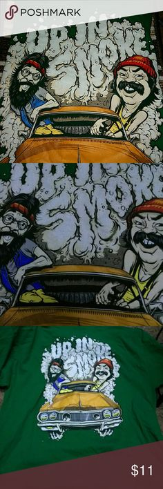 Mens Cheech n Chong Tshirt/lg Mens T-shirt in great used condition. Green T-shirt with awesome colorful and fun Cheech and Chong of UP IN SMOKE on the front. No cracking, or holes, or fading,etc.....says large but could fit med to lg Cheech & Chong Shirts Tees - Short Sleeve