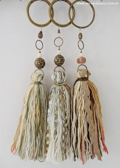 Could use wooden curtain rod rings Diy Tassel, Tassel Jewelry, Fabric Jewelry, Boho Necklace, Leather Jewelry, Diy Jewelry, Tassels, Jewelry Making, Passementerie