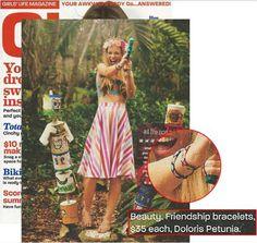 Doloris Petunia Original Swarovski Crystal Friendship Bracelets featured in the June/July 2014 issue of Girls' Life