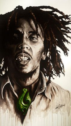 "Oil on canvas painting by deSotogi of Bob Marley entitled ""One Heart"""