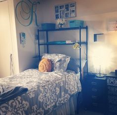 My Dorm Room At Ohio University Bromley Hall Bedding And Wall Decal From Pottery Barn Over The Bed Storage Bath Beyond