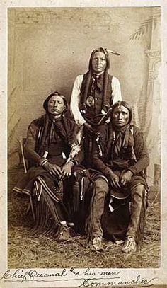 L-R: Quanah Parker, Moetah (aka Pug Nose, aka Frank Moetah), Quassyah (aka Eagle Tail Feather) - Comanche - circa 1891