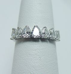 Vintage 1 23ct Pear 7 Diamond Anniversary Ring 18K White Gold Estate | eBay