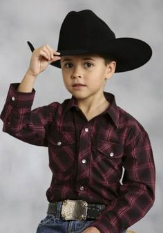Boy's Deep Red Country Plaid Shirt, Black Cowboy Hat, Belt Buckle
