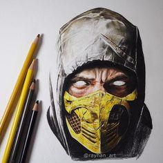 scorpion mortal kombat drawing portrait - Поиск в Google