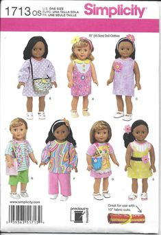 NEW Pattern 18 Girl Doll Clothes -American Doll -Simplicity 1713- - Dated 2013 - One Size  LONG SLEEVE DRESS SLEEVELESS DRESS, SHORTS, SHORT SLEEVE TOP LONG SLEEVE TOP LONG PANTS, APRON, SHORT SLEEVE DRESS CAP SLEEVE DRESS HEADBANDS PURSE  Most of the items in my shop have been procured via hunt and peck at yard sales, thrift stores, auctions etc. At the present time they reside in a pet free, smoke free home. Unless otherwise noted the patterns appear to be UNCUT. If you have any questions…