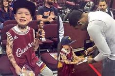 Young Cavs Fan Covered in Temporary Tattoos Gets Autograph from J.R ...