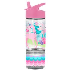 Your child can bring a snack and drink with them with this Stephen Joseph Sip and Snack Bottle. The lid stays connected to avoid dropping to help it stay clean and a snack cup connects to the bottle so they'll have food when they want it. Snacks Online, Spongebob Birthday Party, 10th Birthday, Unicorn Water Bottle, Snack Containers, Carbonated Drinks, All Kids, Baby Clothes Shops, The Life